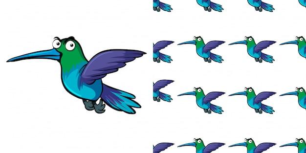Naadloos ontwerp als achtergrond met kolibrie het vliegen