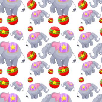 Naadloos ontwerp als achtergrond met olifanten op ballen