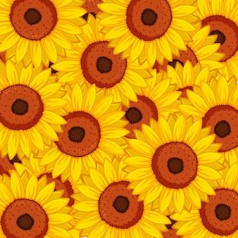 Naadloos ontwerp als achtergrond met zonnebloemen