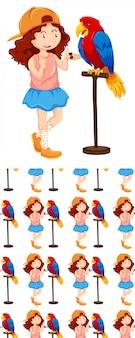 Naadloos ontwerp met meisje en papegaai
