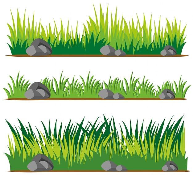 Naadloos ontwerp voor gras en rotsen