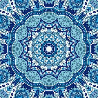 Naadloos ornamentpatroon van cirkelvormige ornamentenblauwe winterachtergrond