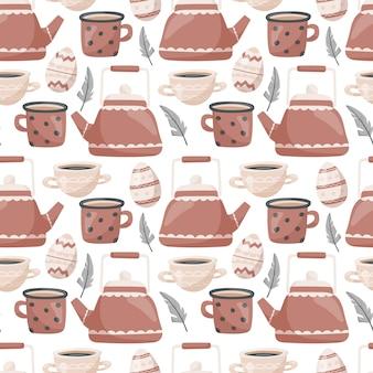 Naadloos pasen-patroon. leuke krabbel, theepot en mokken met thee of koffie, beschilderde eieren en veren.