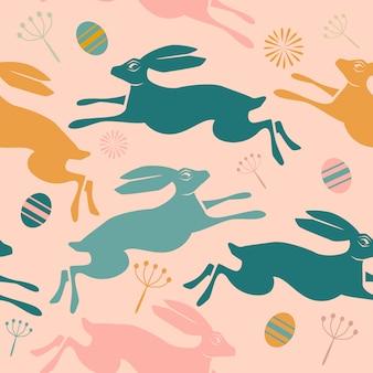 Naadloos pasen-patroon met hazen en eieren,