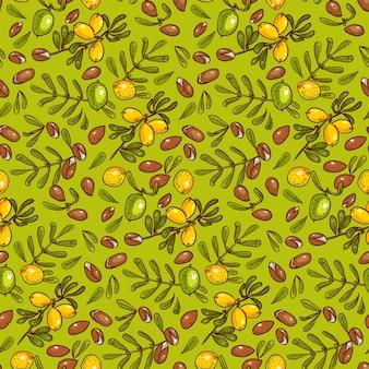 Naadloos patroon arganolie