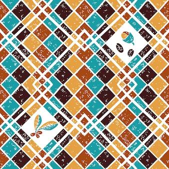 Naadloos patroon argyle en koffie