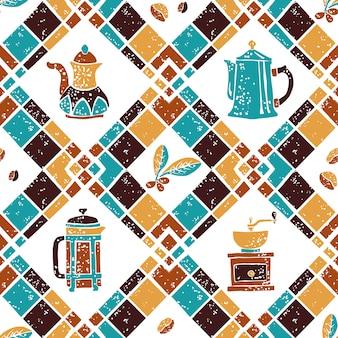 Naadloos patroon argyle en koffiezetapparaat