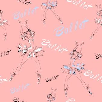 Naadloos patroon. ballet. dansende ballerina's.