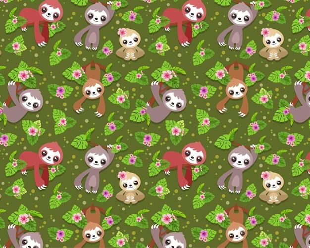 Naadloos patroon bewerkbaar textiel patroon volledig aanpasbaar kinderen geschenkverpakking babypatroon liefde paar geschenkverpakking papier patroon luiaard schattig luiaard