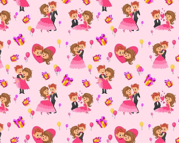 Naadloos patroon bewerkbaar textiel patroon volledig aanpasbaar kinderen geschenkverpakking babypatroon liefde paar valentijnsdag geschenkverpakking papieren patroon