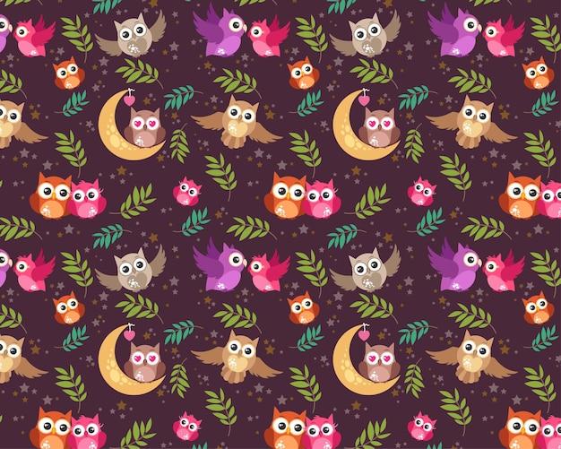 Naadloos patroon bewerkbaar textiel patroon volledig aanpasbaar kinderen geschenkverpakking babypatroon uil vogel liefde paar vogel patroon nacht