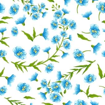 Naadloos patroon bloemen lijnzaad.