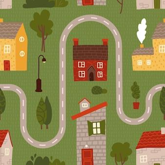 Naadloos patroon - cartoon weg met huis, boom