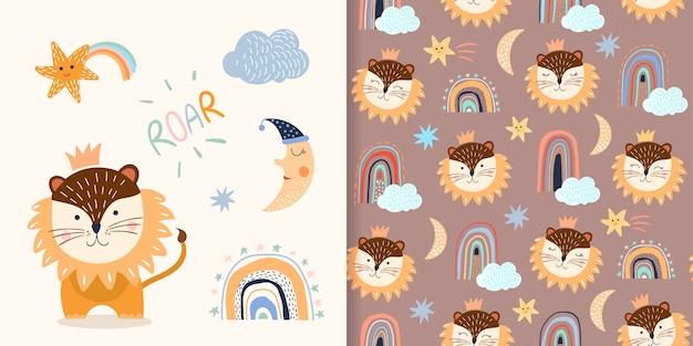 Naadloos patroon dat met kinderachtige, verschillende elementen, leeuw, regenbogen en wolken wordt geplaatst