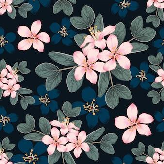 Naadloos patroon de kers komt bloemen tot bloei