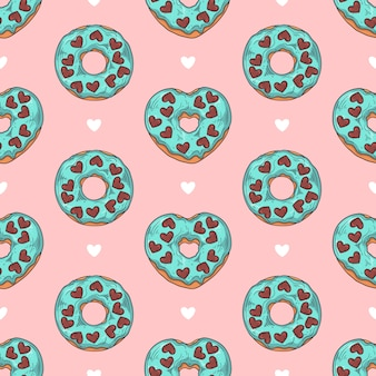 Naadloos patroon. geglazuurde donuts versierd met toppings, chocolade, noten.