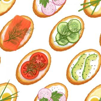 Naadloos patroon gemaakt van toast met verschillende vullingen op een witte achtergrond. lekkere broodjes. eindeloos beeld. cartoon stijl. object voor verpakking, advertenties, menu. vector illustratie.