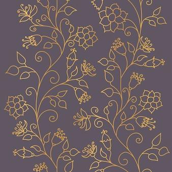 Naadloos patroon. gouden bloemen sieraad op een donkere achtergrond. modieuze texturen van gouden glans.