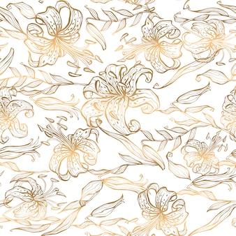 Naadloos patroon gouden lelies