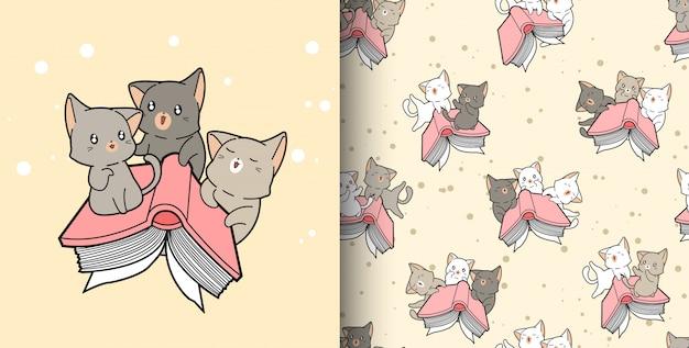 Naadloos patroon hand getrokken kawaii katten en handboek in cartoon stijl