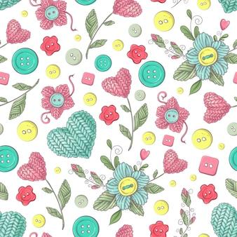 Naadloos patroon handgemaakte gebreide bloemen en elementen en accessoires voor haken en breien