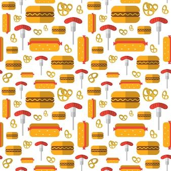Naadloos patroon hotdogs, pretzels, duitse worsten