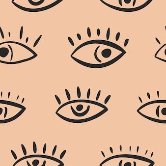 Naadloos patroon in abstracte stijl. ogen op een lichte achtergrond. vector illustratie