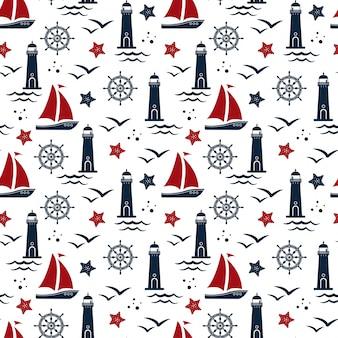 Naadloos patroon in mariene stijl. vuurtoren, zee, meeuwen, stuurwiel