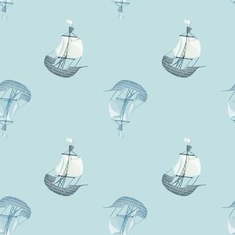 Naadloos patroon in overzeese stijl met de silhouetten van het zeilbotschip. blauwe achtergrond. pastelkleurig ornament.