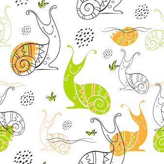 Naadloos patroon in scandinavische stijl van slakken