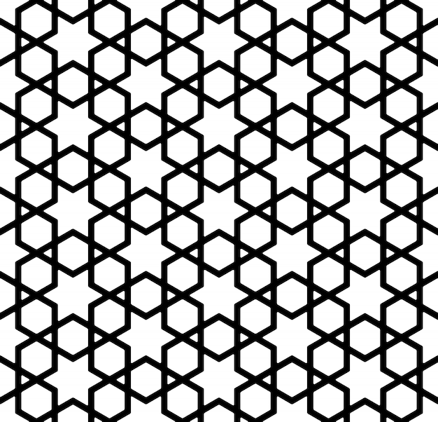 Naadloos patroon in zwart en wit in dikke lijnen.