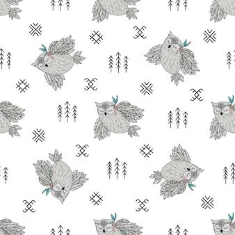 Naadloos patroon. indian owl american native culture ethnic