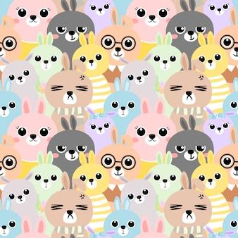Naadloos patroon kleurrijk konijn