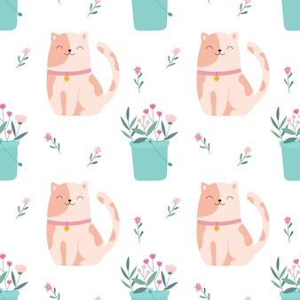 Naadloos patroon leuk katje met een boeket van bloemen.