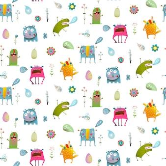 Naadloos patroon leuke cute cartoon monsters