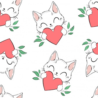 Naadloos patroon leuke kat en hartachtergrond. illustratie. afdrukontwerp voor babytextiel, schattige stof.