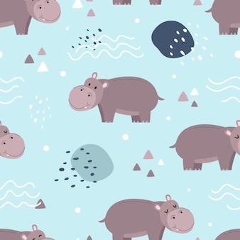 Naadloos patroon leuke nijlpaard