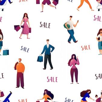 Naadloos patroon - mensen met tassen doen boodschappen