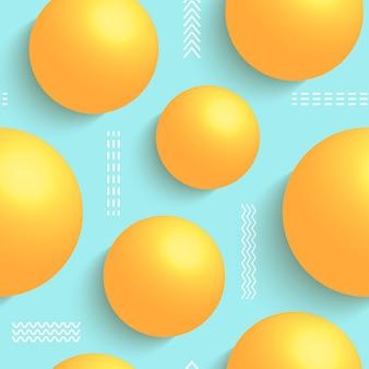 Naadloos patroon met 3d-ballen