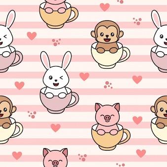 Naadloos patroon met aap, konijn en varken, in het glas. leuk karakterpatroon.