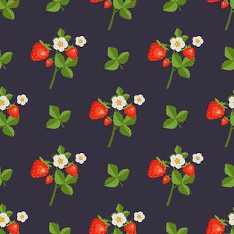 Naadloos patroon met aardbeien bloemen en bladeren