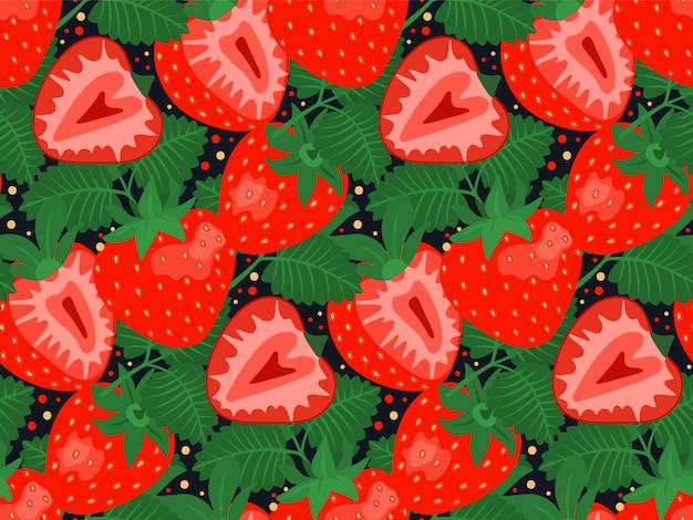 Naadloos patroon met aardbeien en bladeren.
