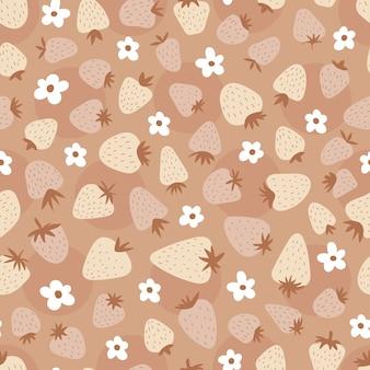 Naadloos patroon met aardbeien en bloemen. leuke eenvoudige print voor kinderen. boho schattige achtergrond