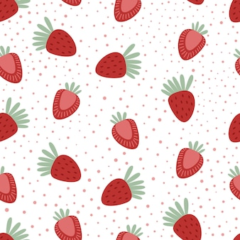 Naadloos patroon met aardbeien en stippen