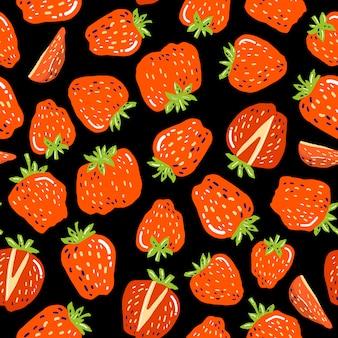 Naadloos patroon met aardbeien, textuur voor achtergronden