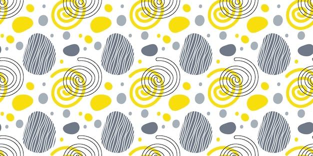 Naadloos patroon met abstracte bionische vorm hand getrokken naadloze sjabloon met spiralen en vlekken