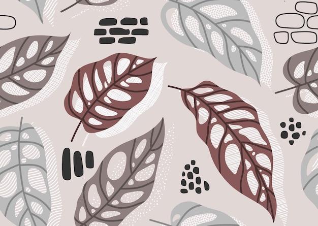 Naadloos patroon met abstracte bladeren.