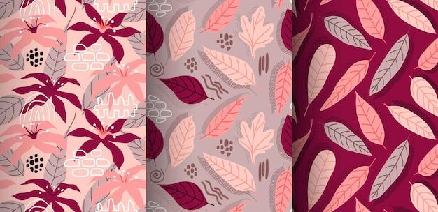 Naadloos patroon met abstracte bloemen en bladeren.