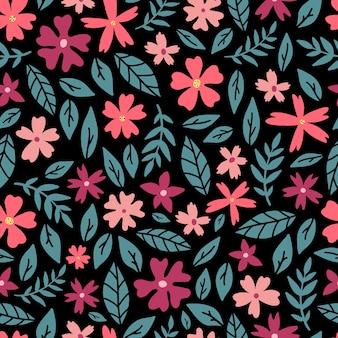 Naadloos patroon met abstracte bloemen en bladeren