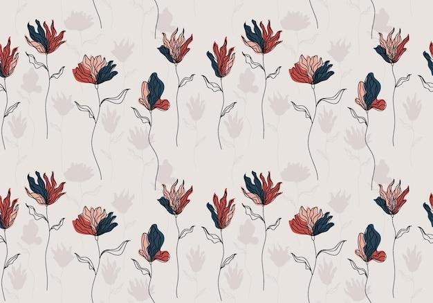Naadloos patroon met abstracte bloemen en verlof.
